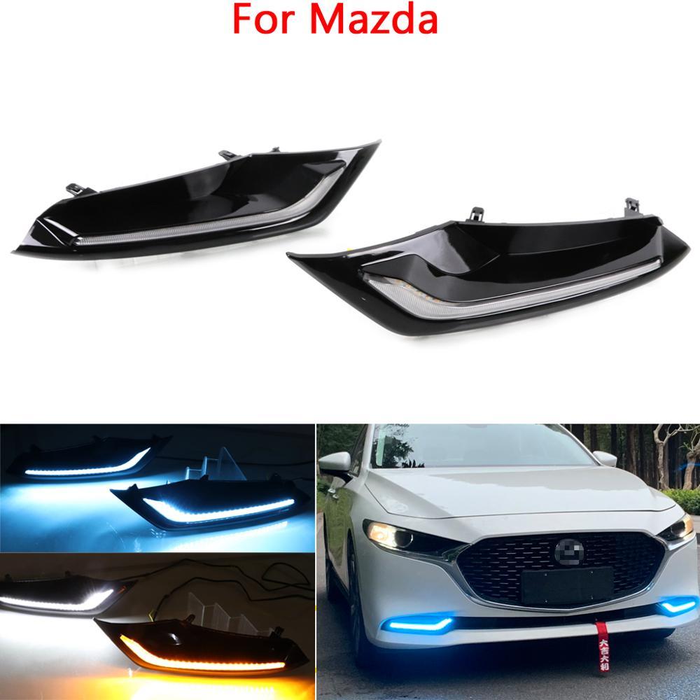 For Mazda 3 Axela 2019 2020 LED Daytime Running Lights Daylight Fog lamp with turn signal light
