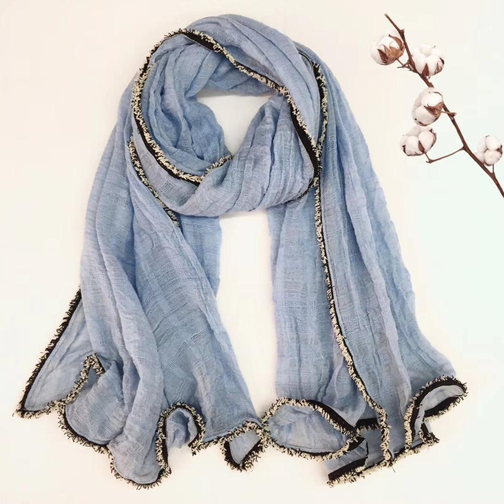 2018 Hot Sale Women Plain Color Trim Scarf Shawls Cotton Lurex Scarves Quality Scarf Wraps Hijab 7 Color Free Shipping