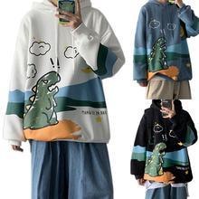 Men Winter Cartoon Dinosaur Print Pullover Long Sleeve Sweatshirt Loose Hoodie