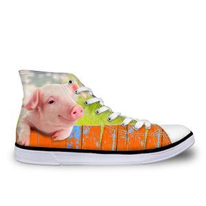 HaoYun Women Vulcanize Shoes High-top Canvas Shoes Cute Pig Animal Print Girls Lace-up Casual Flat Walking Shoes Sapato Feminino