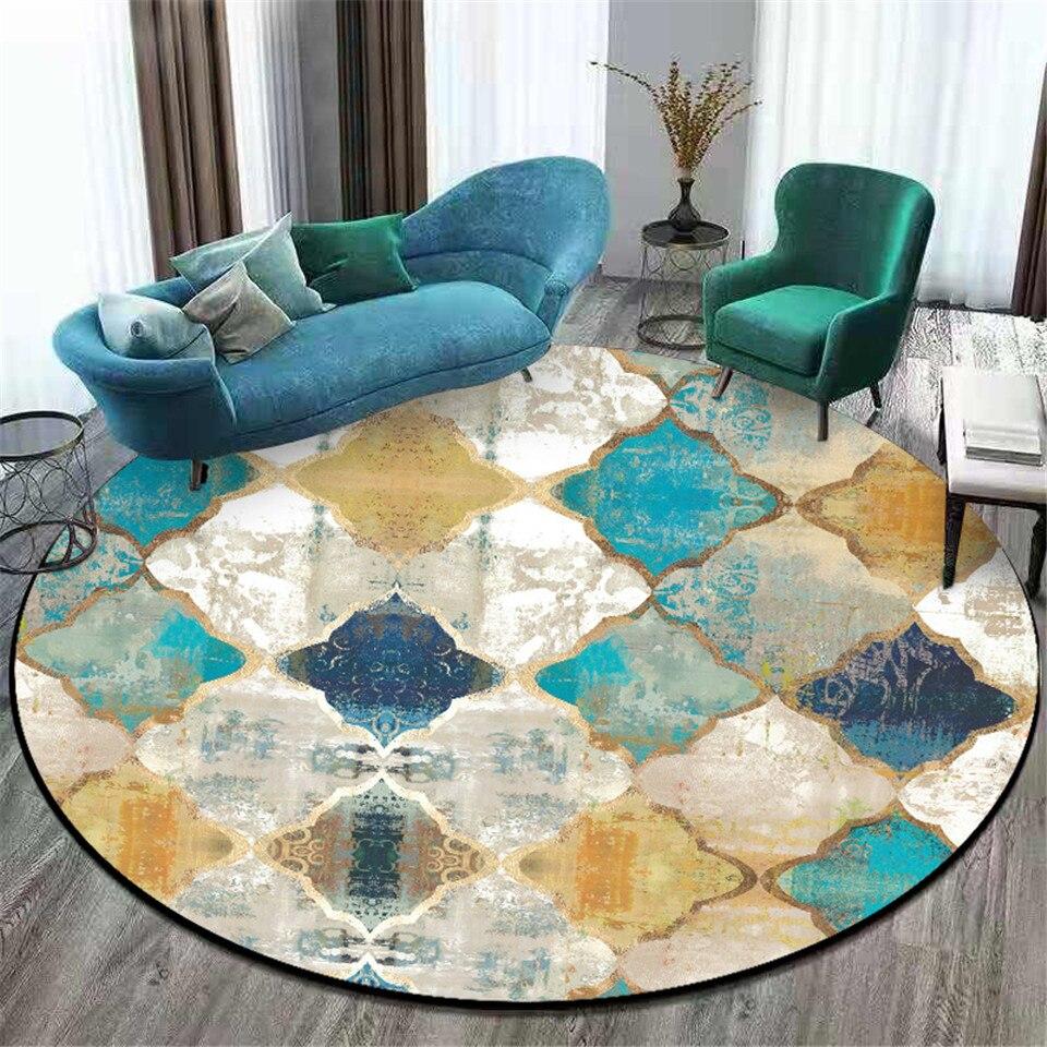 Marrocos colorido geométrico impresso redondo tapete da sala de estar do vintage tapetes de área de cama mesa de centro tapete antiderrapante