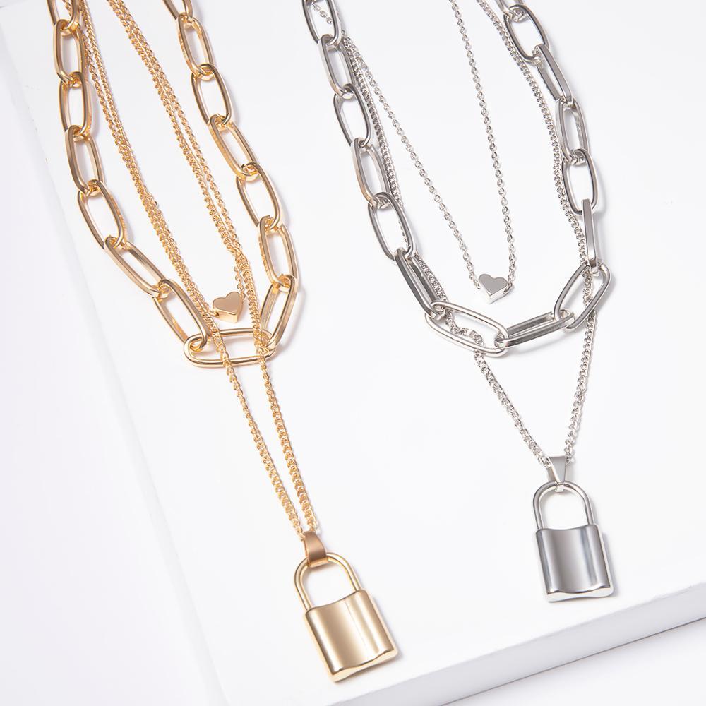 Купить с кэшбэком Ingemark Multi Layer Lover Lock Pendant Choker Necklace Steampunk Padlock Heart Chain Necklace Collier Best Couple Jewelry Gift