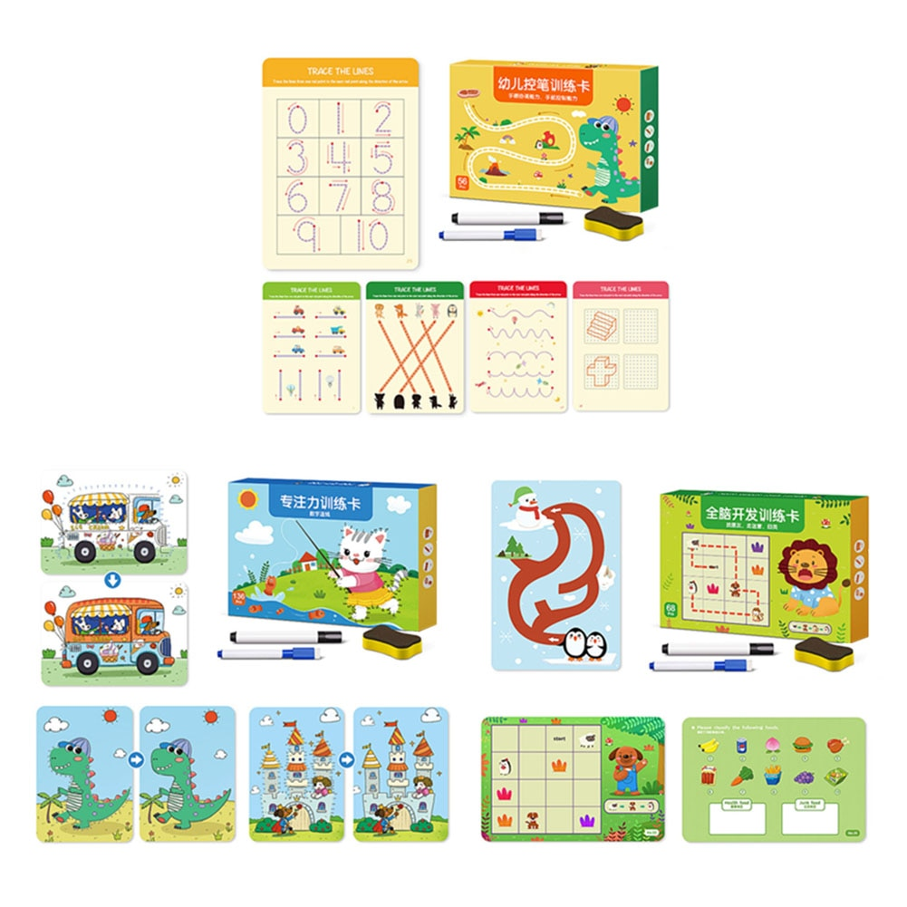 Pen Control Training Card Kids Early Education Puzzle Toy Set Trace Dot Lines Funny Dots Drawing Foc