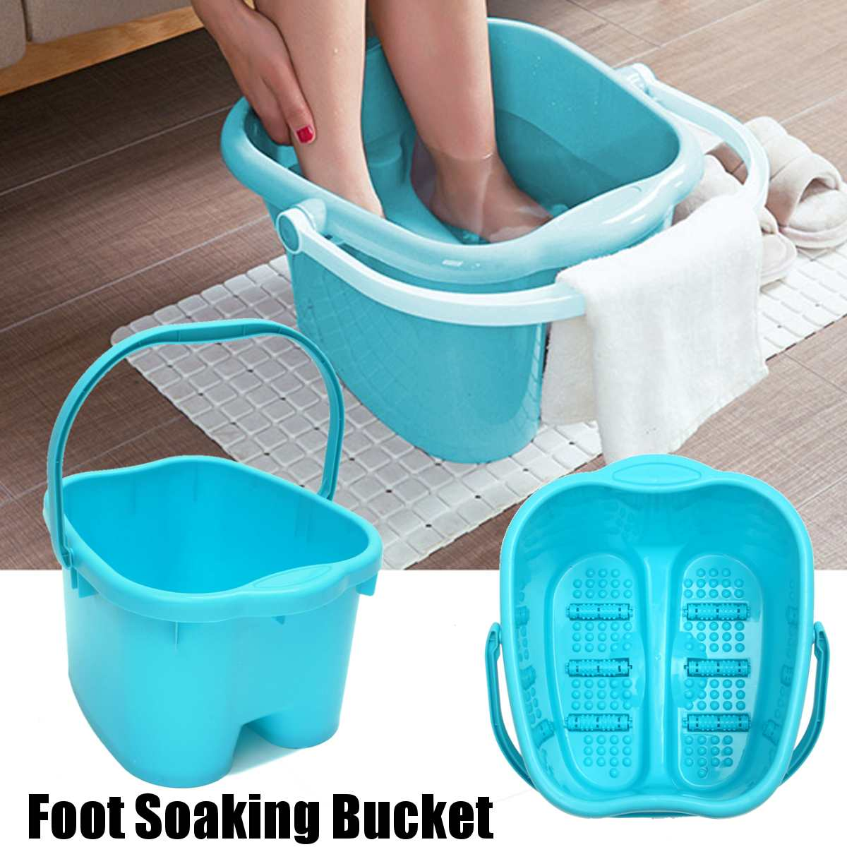Foot Tub Portable Foot Wash Tub Massage Bucket Travel Bucket with 6 Massage Balls Bathing Feet in Winter
