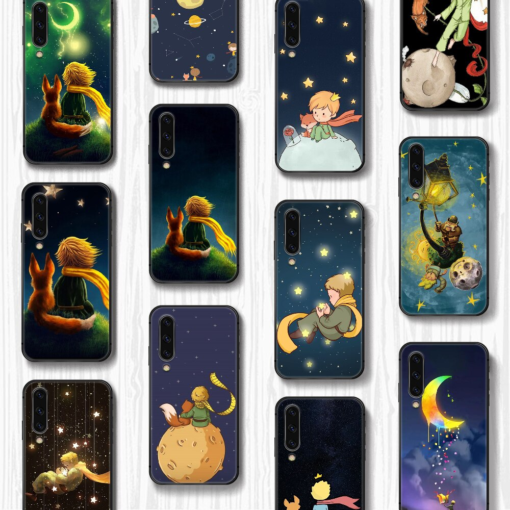 Cartoon The Little Prince and the fox Phone Case Cover For Samsung Galaxy A10 A20 A30 E A40 A50 A51 A70 A71 J 5 6 7 8 S black