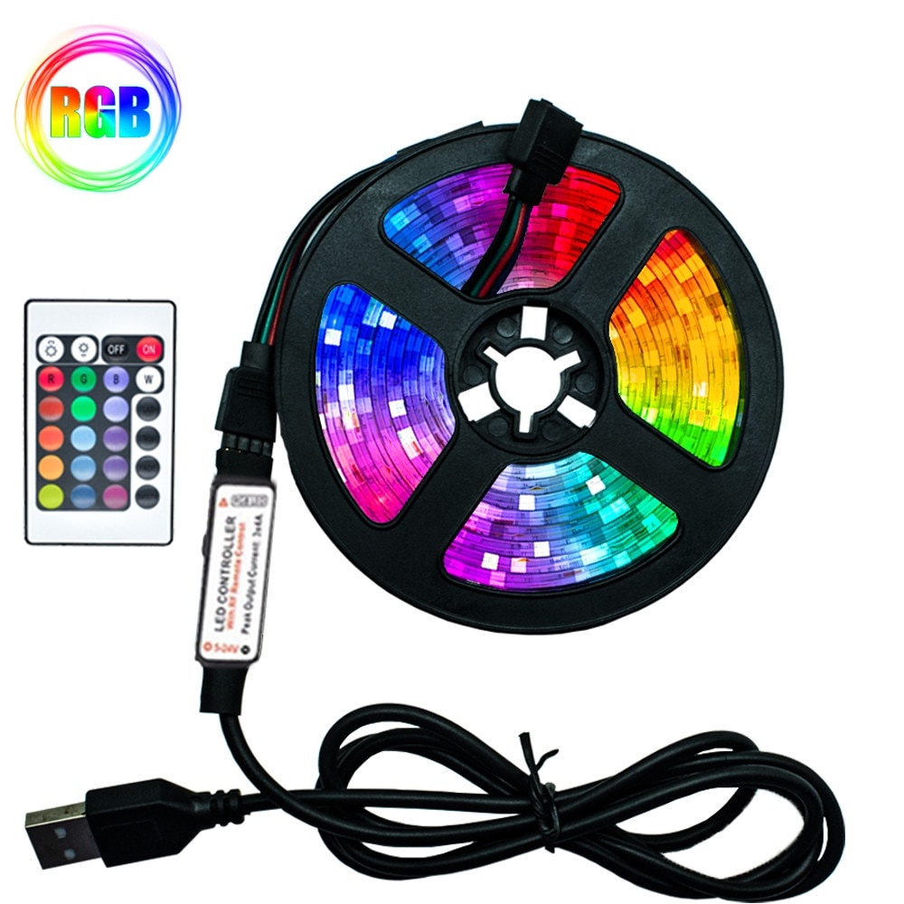 LED Strip Lights RGB SMD2835 DC5V 1M 2M 3M 4M 5M USB Infrared Control Flexible Lamp Tape Diode TV Ba