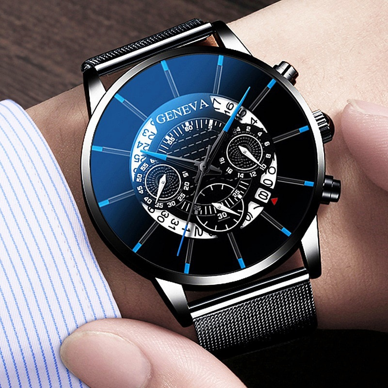 Роскошные мужские наручные часы с календарем в деловом стиле из нержавеющей стали, мужские часы, мужские наручные часы