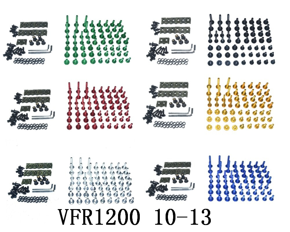Kompletna obudowa CNC śruby śruby karoserii zestaw nakrętek do montażu Honda VFR1200 2010-2013