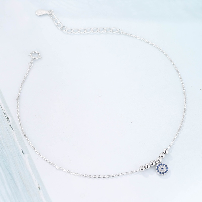 Summer Fashion 925 Sterling Silver Chain Anklets For Women Beach Party Beads Ankle Bracelet Foot Jew