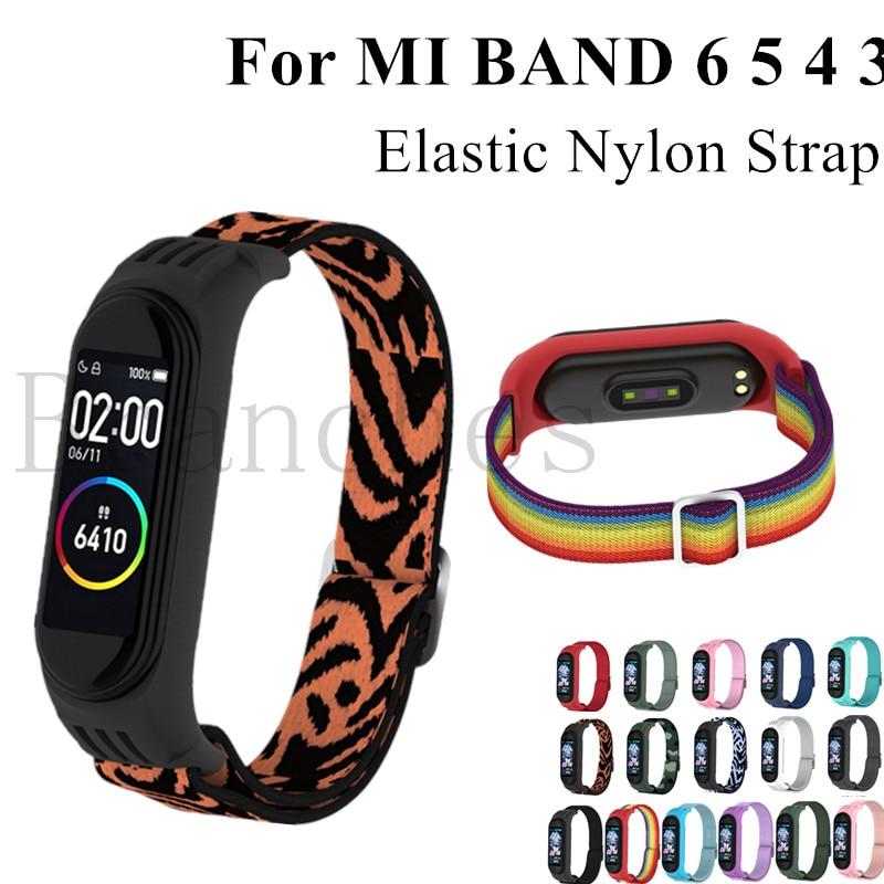 Nylon strap For Xiaomi MI Band 6 5 4 3 Elastic Replacement Bracelet Sport Wristband mi Band 4 3 Smart Watch Accessories Loop