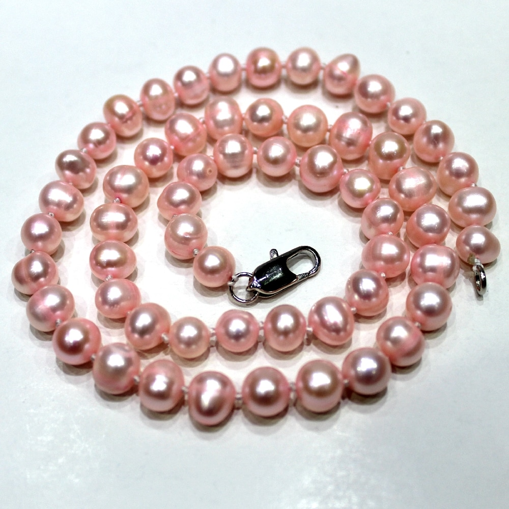 Pink Potato shaped Freshwater Pearl Necklace 7.5-8mm 18INCH