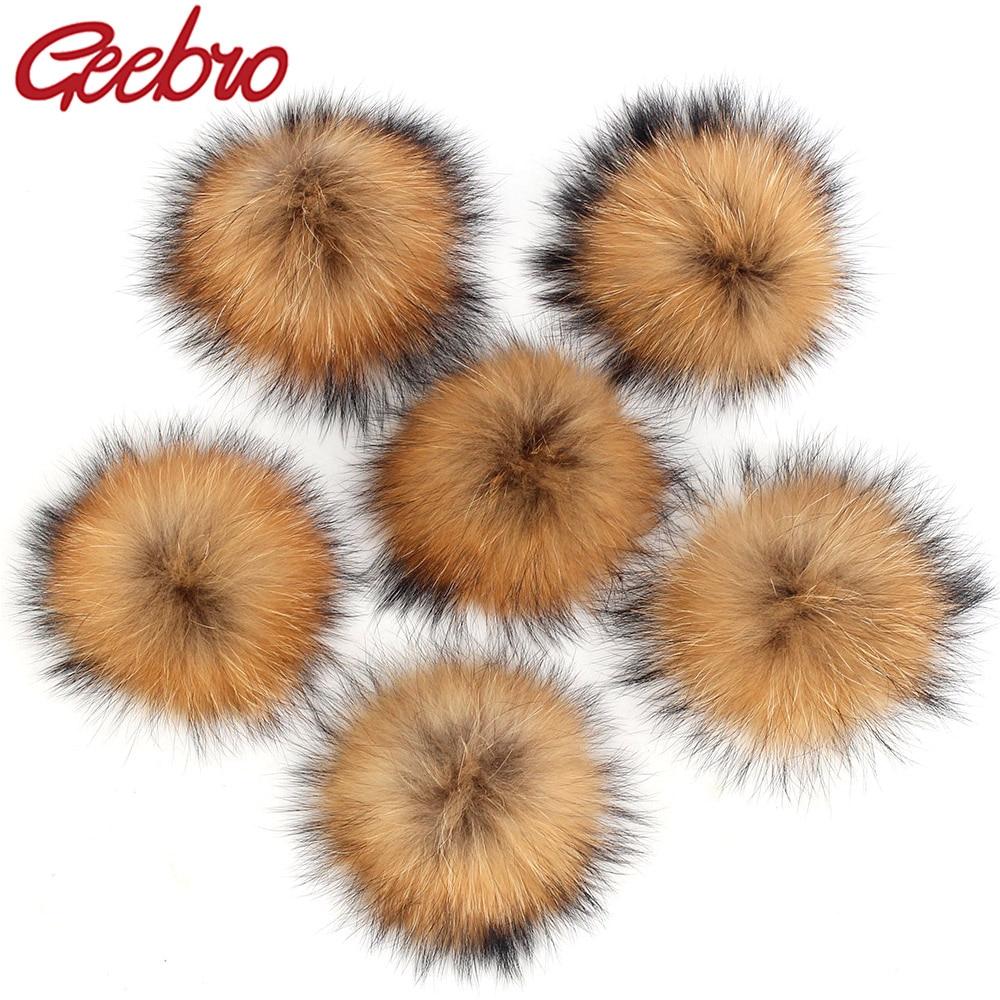 Geebro Flocky Real Fur Pompom Lovely Ball Fashion Cap Beret Hat DIY Accessories JQ06A Pom Pom Natrua