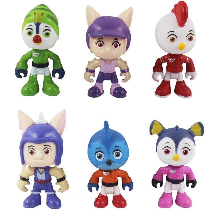 6 unids/set Top Wing figura de acción juguete Adventure Swift Rod Terry Penny Speedy Bea dibujos animados Anime en miniatura juguetes regalos de cumpleaños