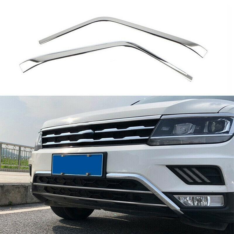 For Volkswagen Tiguan 2017-2021 Silver Steel Front Bumper Lower Strip Guard Trim Car modification Auto parts