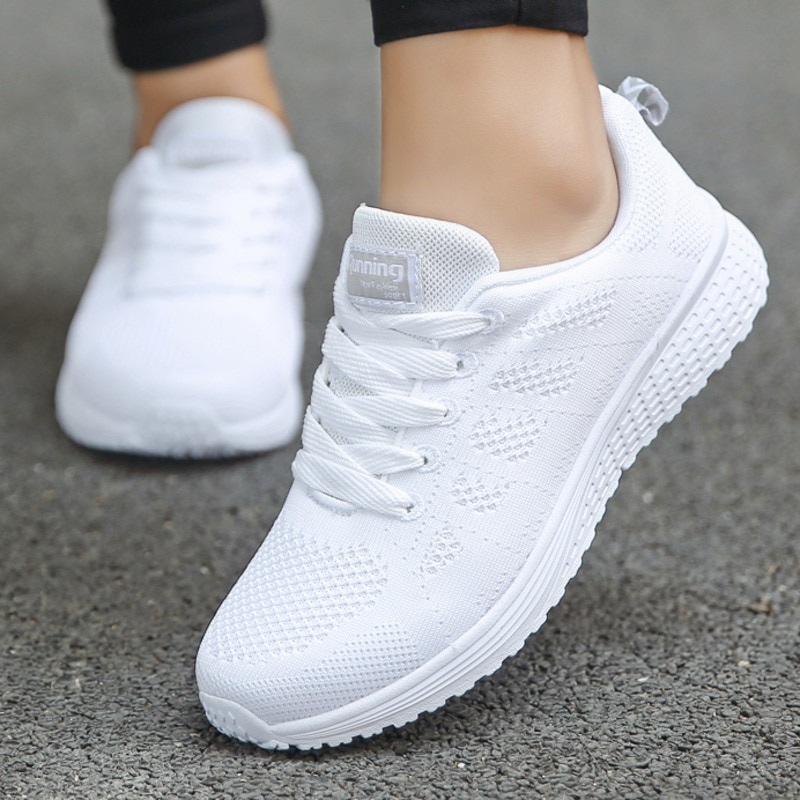 Zapatillas de tenis informales para Mujer, Calzado Deportivo con cordones, de malla...