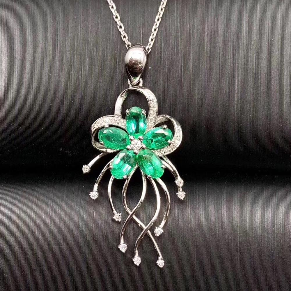 قلادات عتيقة من الزمرد الطبيعي للنساء ، مجوهرات عالية الجودة ، مجوهرات راقية ، سلسلة S925 مجانية