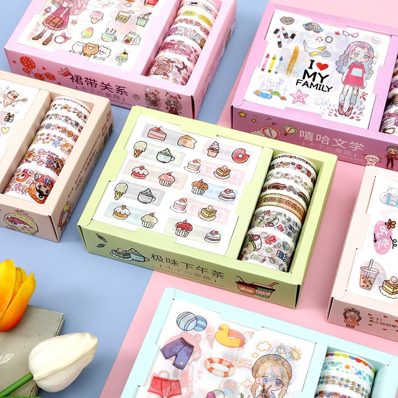 9 Pc Stickers 7 Rolls Masking Tape Cute Cartoon Animals Washi Tapes Scrapbooking DIY Deco Creative Japanese Kawaii Masking Tapes