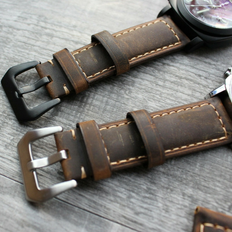 For Panerai Luminor Marina 22mm 24mm 26mm Brown Calf Leather Watch Strap Band
