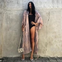 2021 summer fashion trendy womens striped print tether pockets with cardigan and sunscreen holiday beach dress