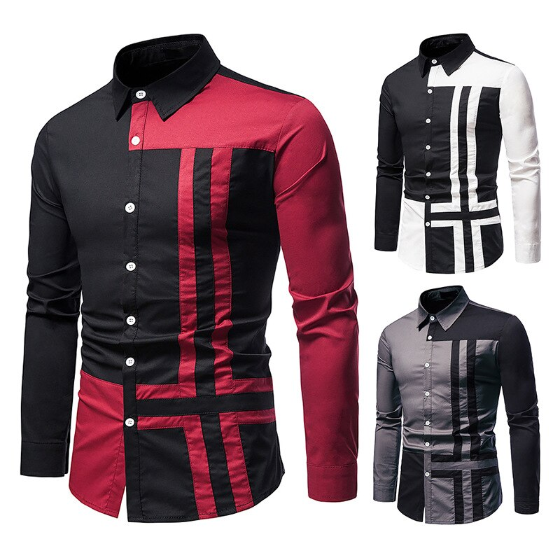 Мужские рубашки, новые европейские мужские рубашки, соединенные рубашки с длинными рукавами, мужские рубашки, модные рубашки,
