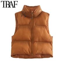 TRAF – gilet Vintage à capuche pour femme, haut court et rembourré, avec fermeture éclair, vêtement dextérieur Chic, à la mode