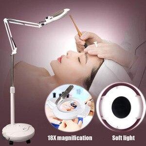 LED Beauty Salon Cold light Lamp 16X Magnifying Glass Tattoo Lamp Beauty Lamp Nail Eyebrow Tattoo Shadowless Floor Lamp Foldable