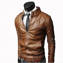 Men Faux Leather Jacket Zippers 2019 Men's Stand Collar Coat Spring Autumn Casual Slim PU Jacket Male Moto Biker Coats Outerwear