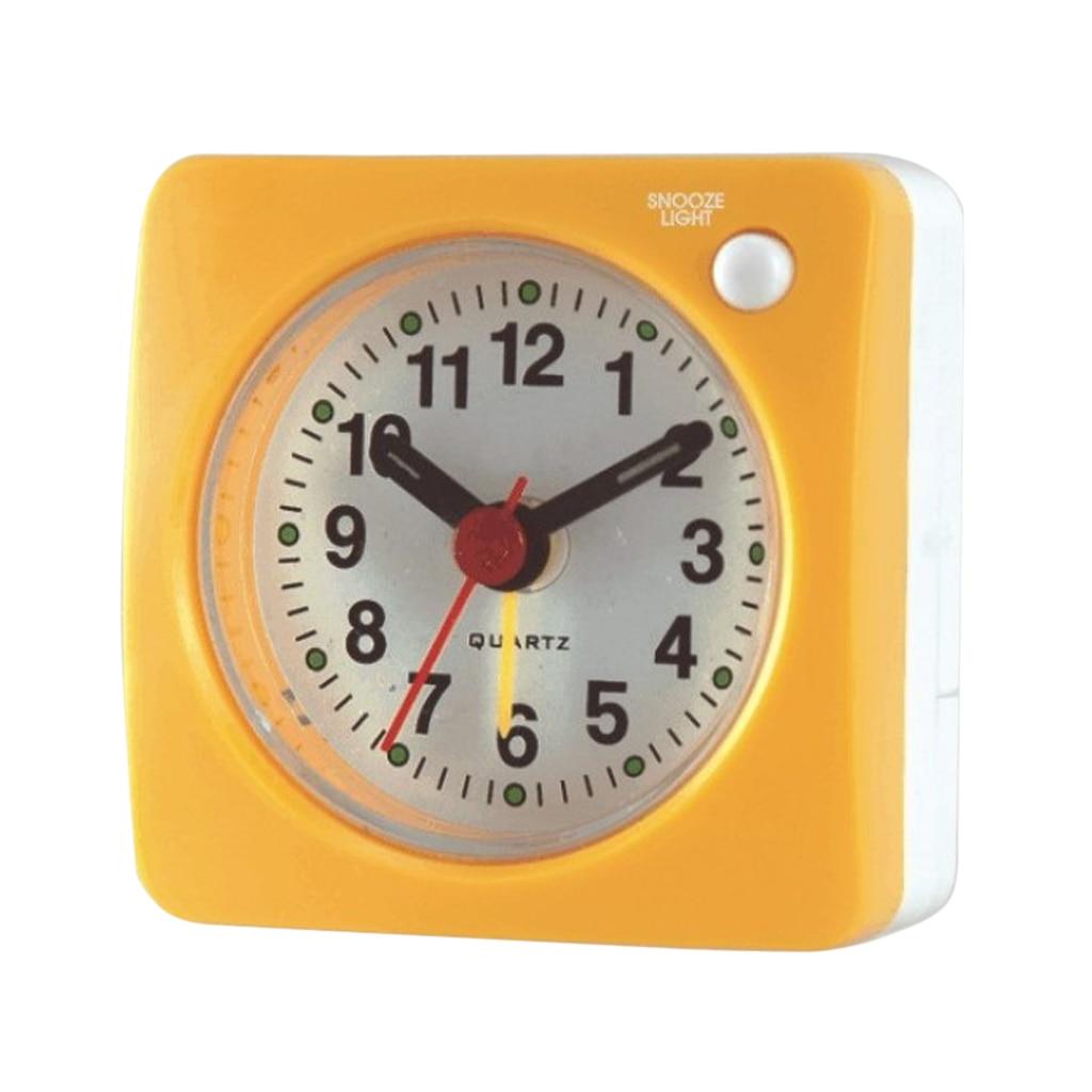 Reloj pequeño de 6cm/2,4 pulgadas, sonido ascendente, con luz, despertador analógico sin tic-tac para viajes, mesa de noche y Escritorio