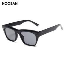 HOOBAN 2020 Classic Rectangle Sunglasses Women Men Brand Design Rivet Plastic Sun Glasse Men s Retro