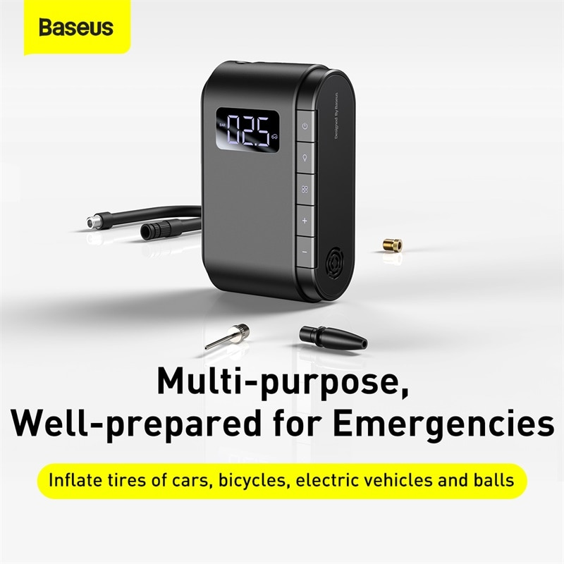 Baseus Wireless Electric Inflatable Pump For Car Portable Air Compressor For Motorcycle Bicycle Tire Inflator Air Pump for Balls 120w rechargeable air compressor wireless inflatable pump portable air pump car tire inflator digital for car bicycle balls