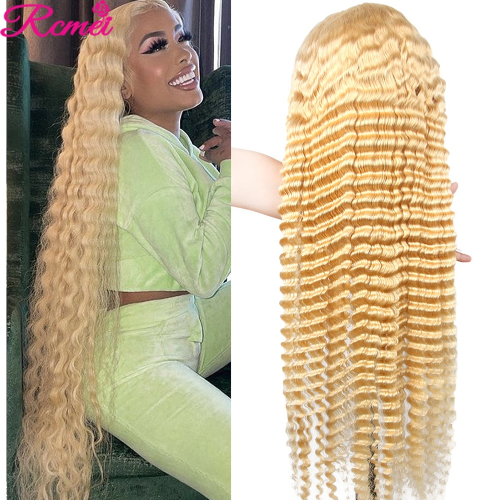 13x4 613 Blonde Lace Front Wig Deep Wave Human Hair Wigs With Baby Hair Lace Frontal Wig Remy Brazilian Pre Plucked Wig 150%