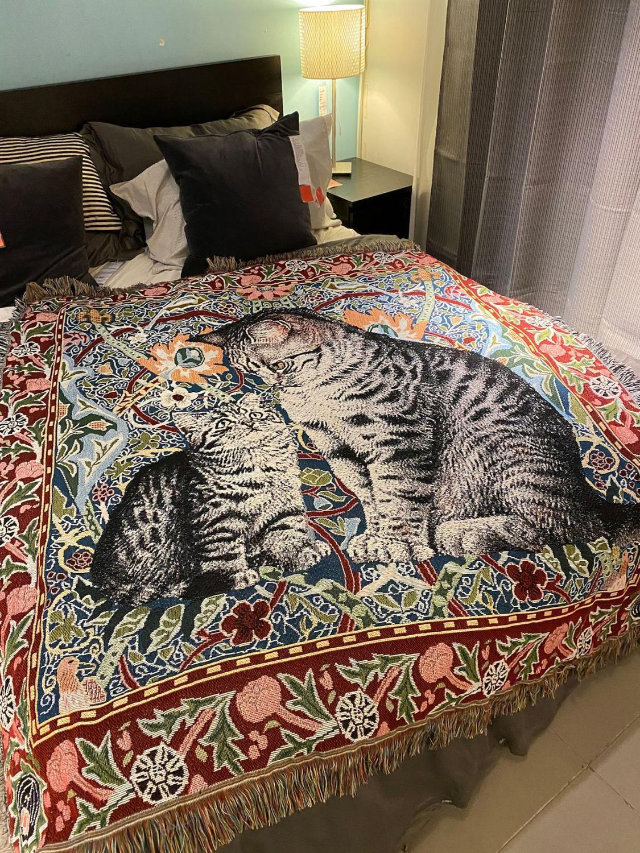 بطانية بطبعة قطة لطيفة ، بنمط رسم زيتي ، محبوكة متعددة الوظائف للأريكة ، غير قابلة للانزلاق ، لسرير الأريكة