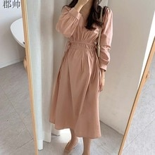 For Women Spring Autumn Long Dress Elegant Long Sleeve Tunic V-Neck Draped Vintage Korean Casual Ele