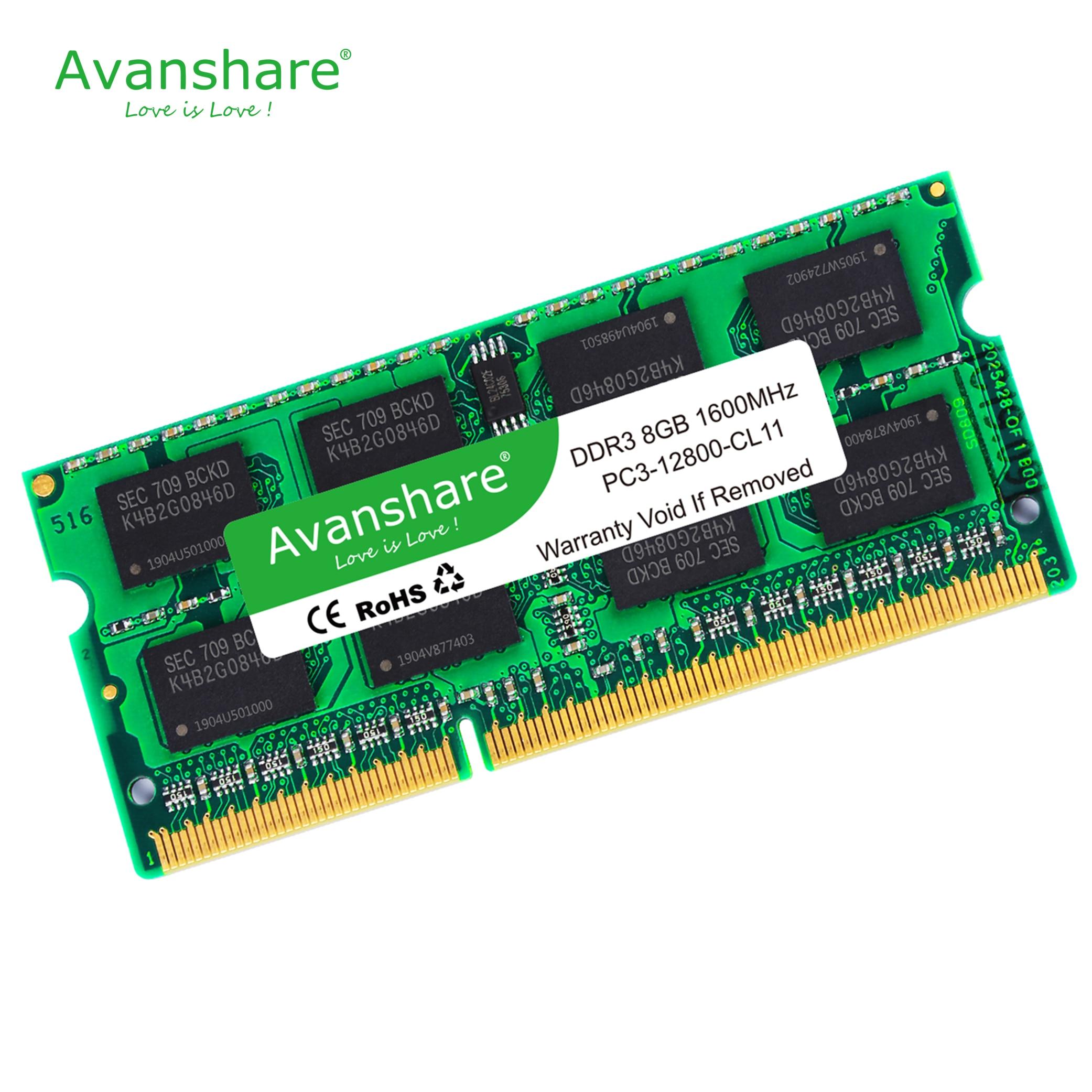 Memoria ddr3 8gb para portátil de 1600MHz sodimm macbook ram ddr3l 1600 compatible con ddr3 laptop 4gb 1333MHz sdram 1066mhz por Avanshare