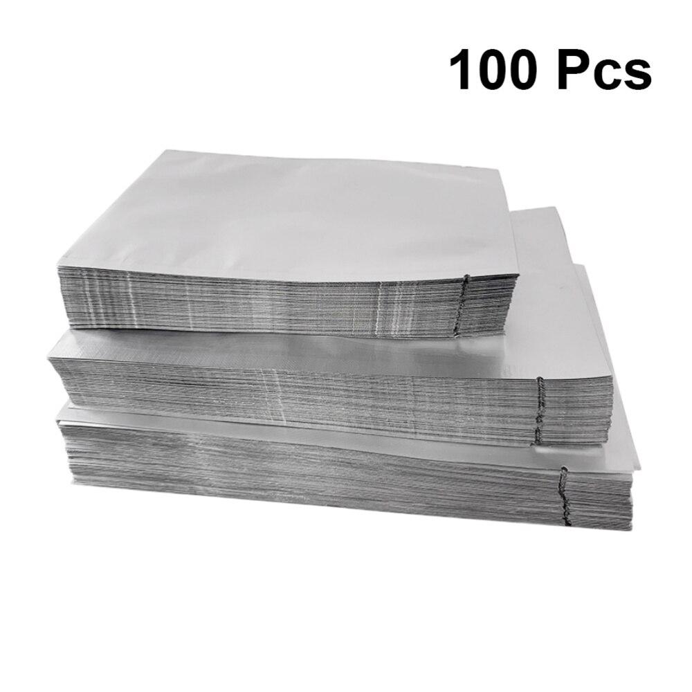 100 Uds. Bolsas planas de plata Mylar bolsa de embalaje de papel de aluminio bolsa de almacenamiento de alimentos a granel 6x9
