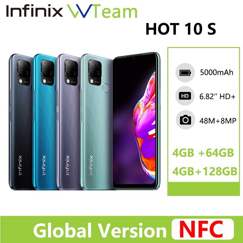 Перейти на Алиэкспресс и купить Infinix Горячая 10S Поддержка NFC смартфон глобальная версия 4GB 64GB 6,82 ''Дисплей 5000 мА/ч, Батарея Helio G85 48MP AI тройное rear