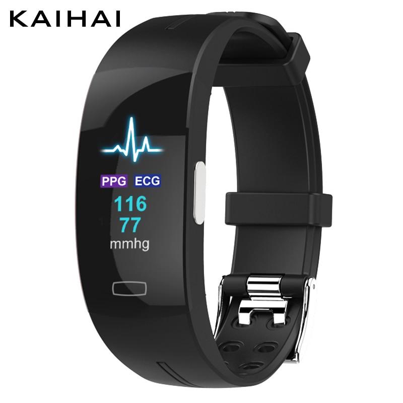 KAIHAI H66 presión arterial alta banda monitor PPG + ECG pulsera inteligente...
