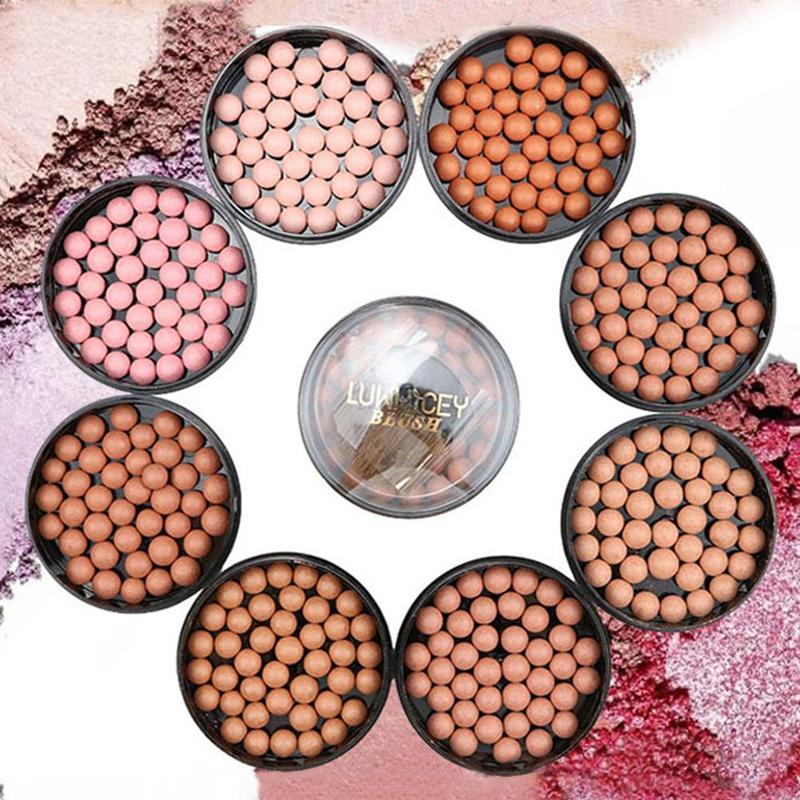 3 In 1 Blush Face Matte Blusher Ball Eyeshadow Contour Professional Powder Balls Blush Makeup Waterp