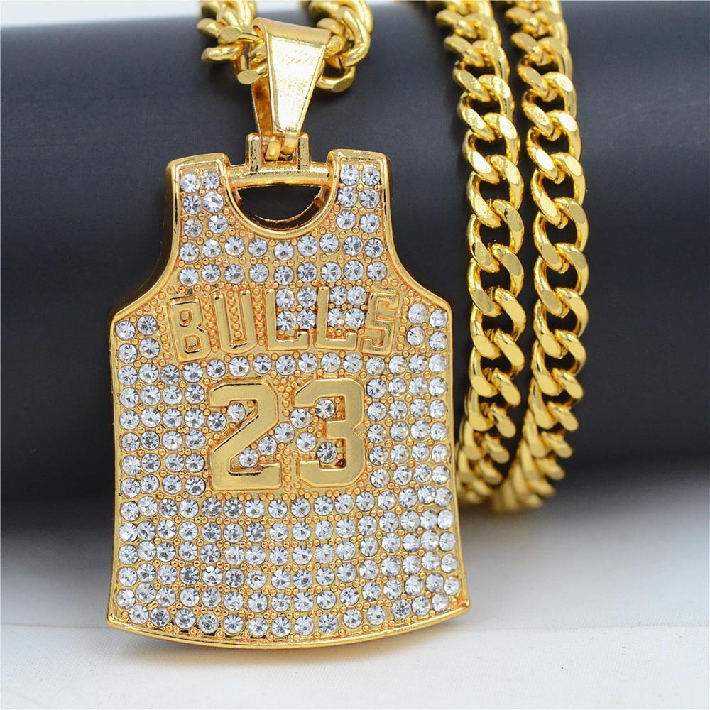 Hiphop tendance or taureaux No.23 jordanie basket-ball Jersey pendentif collier cristal pendentif pendentifs collier pendentif