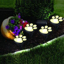 LED Solar Lights String Butterfly Bear Paw Shaped Glowing Light Waterproof Landscape Lamp For Outdoor Garden Festival Decoration