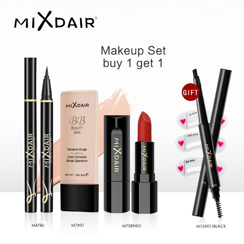 MIXDAIR Black Gold Series 4 Pieces/Set Make Up Tool Kit with Makeup Gift Professional Beauty Make Up Set Cosmetics