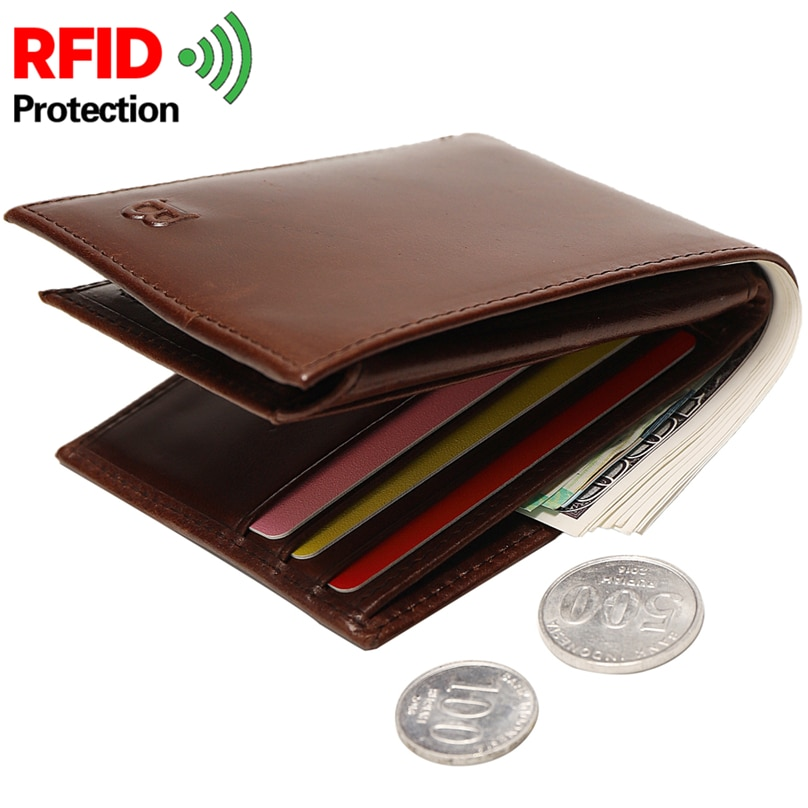 RFID Proof Men's Theft Protection Genuine Leather Wallets Male Short Wallet Coin Purse Money Clip No
