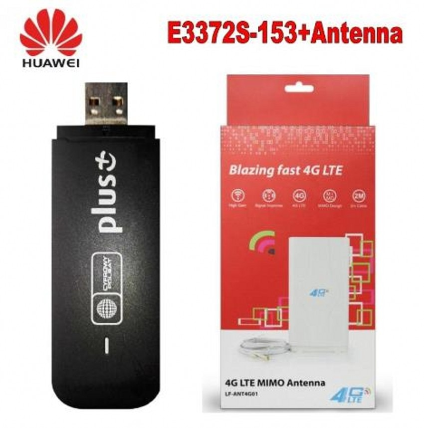 Desbloqueado E3372 E3372s-153 4G LTE USB Dongle USB tarjeta Datacard plus 4G 49dbi LTE Crc9 antena