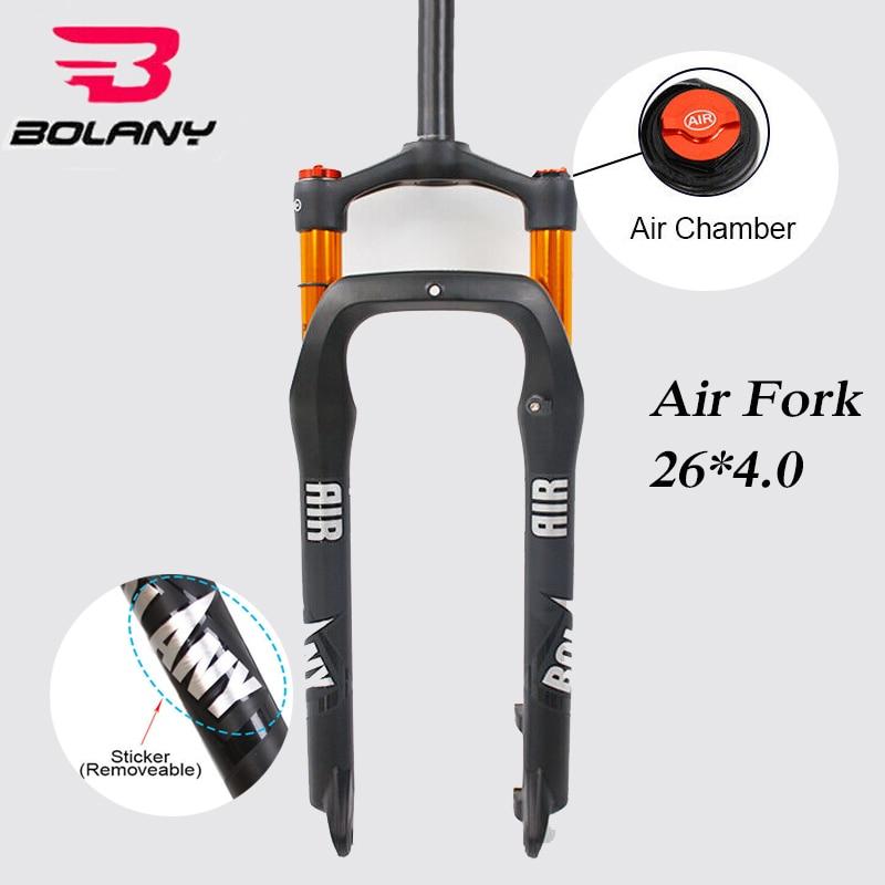 "BOLANY 26*4,0 ""bicicleta gruesa suspensión horquilla 135mm MTB nieve playa bicicleta aire tenedores 120mm viaje 1-1/8 Threadless Supention Fork"