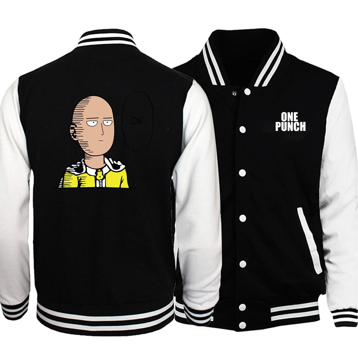 Uniforme de béisbol One Punch Man 2019, abrigo de otoño, chaqueta Bomber de Anime Saitama para hombre, chaqueta de béisbol Hip Hop masculina, ropa informal japonesa