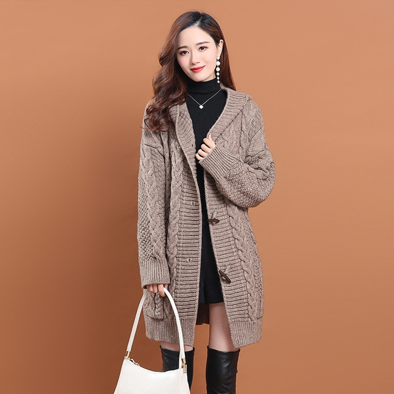 Shuchan Long Thick Cardigan Winter Hooded  Vintage  Single Breasted  Acrylic Spandex  A-straight Warm Knitted Sweater women enlarge