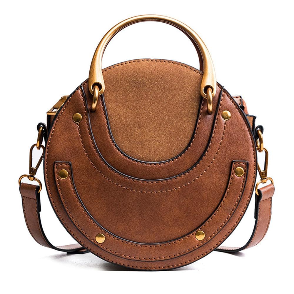 Pequeño bolso redondo para mujer bandolera de cuero de PU Malas de señora remache decorado moda superior ASA bolso bandolera