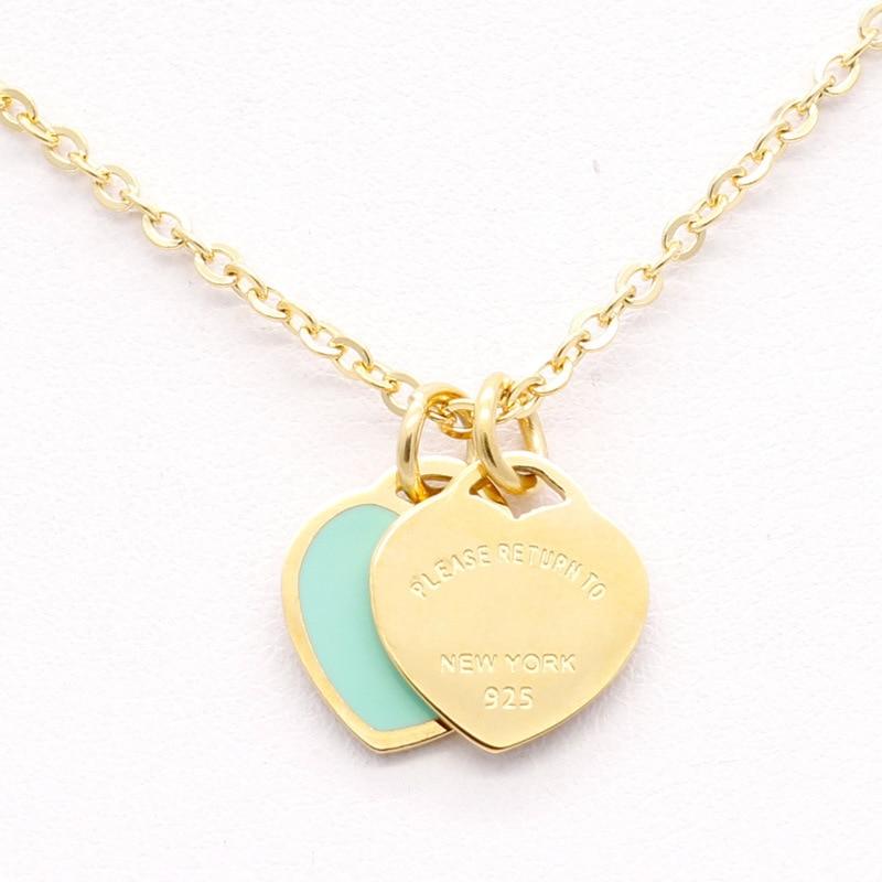 Ожерелье с подвеской в виде сердца и Зодиака, новинка, модель jwelry для женщин, сталь, эмаль, розовый цвет, двойная короткая женская модель 2020, jingyang