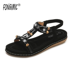 Women's Bohemian Sandals Women's Casual New Large Size Word with Round Head Flat Bottom Beach Sandals Women Women Sandals  Shoe