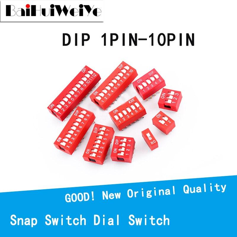 10 шт./лот переключатель слайдерного типа 1 2 3 4 5 6 7-10 PIN 2,54 мм позиционный путь DIP шаг переключатель Красный кнопочный переключатель